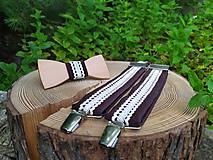 Doplnky - Pánsky drevený motýlik a traky - 10889476_