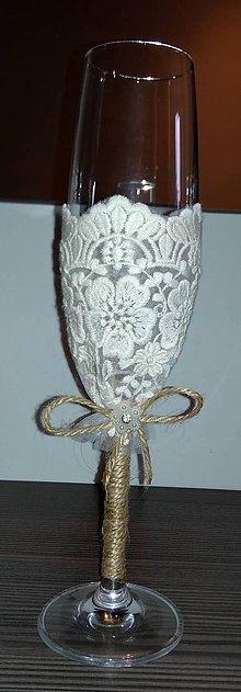Nádoby - Jutové svadobné poháre s béžovou čipkou - 10890342_