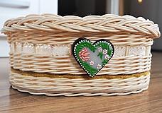 Košíky - Košík s čipkou a maľovaným srdiečkom - 10889798_
