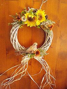 Dekorácie - Jesenná dekorácia so slnečnicami a vtáčikom 28m - 10889310_