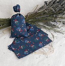 Úžitkový textil - Vrecúško na levanduľu (modré  folk kvetované) - 10891154_