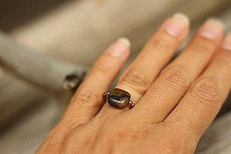 Prstene - Prsteň z minerálu staurolit a hematit - 10889649_