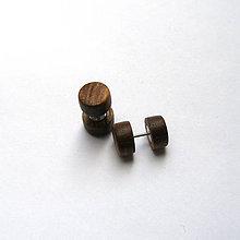 Náušnice - Drevené falošné rozťahováky - orechové - 10891395_