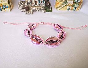 Náramky - Pokovené náramky z mušlí kauri (Ružový náramok) - 10890626_