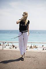 Nohavice - Ľanové nohavice biele - 10892592_