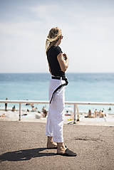 Nohavice - Ľanové nohavice biele - 10892593_
