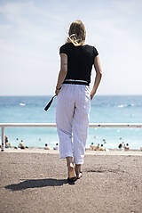 Nohavice - Ľanové nohavice biele - 10892595_