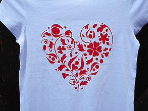 Detské oblečenie - red heart-červené srdiečko-folk tričko - 10891576_