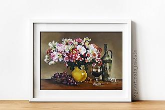 Obrazy - Zátišie kvety a víno - 10891775_