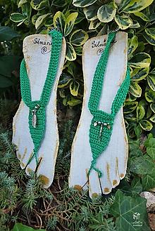 Náramky - Náramky na členky -zelené - 10892390_