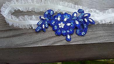 Bielizeň/Plavky - svadobný podväzok Ivory + kráľovská modrá - 10892792_
