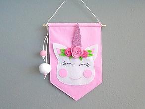 Detské doplnky - Navrhni si vlajku do detskej izby! (základná vlajka: jednorožec) - 10892413_