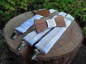 Doplnky - Pánsky drevený motýlik a traky - 10891879_