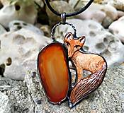 Náhrdelníky - cínový šperk s keramikou LÍŠKA - 10892902_