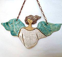Dekorácie - Anjel-ka na stenu - 10892946_