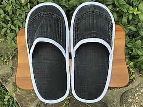 Obuv - Čierne riflové papuče s vreckom - 10892695_