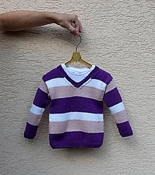 Detské oblečenie - Pletený detský pulóver pruhovaný - 10893628_