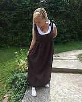 Šaty - Čokoládové ľanové šaty - 10891991_