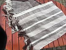 Úžitkový textil - Tkaná deka merino-ľan, zošitá z dvoch pásov - 10895537_
