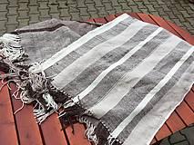 Úžitkový textil - Tkaná deka merino-ľan, zošitá z dvoch pásov - 10895538_