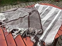 Úžitkový textil - Tkaná deka merino-ľan, zošitá z dvoch pásov - 10895539_