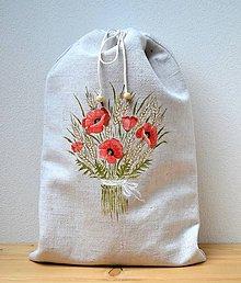 Úžitkový textil - Ľanové vrecko na chlieb-podšité-Kytica divých makov - 10896795_