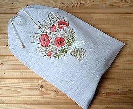 Úžitkový textil - Ľanové vrecko na chlieb-podšité-Kytica divých makov - 10896798_