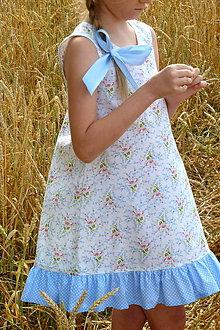 Detské oblečenie - Šatočky Nezábudkové s volánom - 10894543_