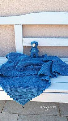 Textil - Detská deka + medvedík  -  Drops baby merino - petrolejová - 10896834_
