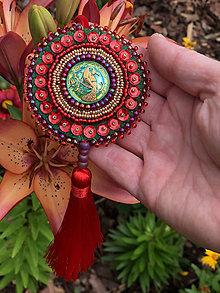 Dekorácie - ozdoba červený páv no.110 - 10894337_