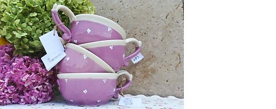Nádoby - Levanduľová keramická šálka na polievku,čaj - 10895235_