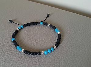 Šperky - Pánsky náramok z minerálov a strieborných koráliek - 10895960_