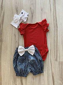 Detské oblečenie - Body 74 červené s volánikmi - 10894445_