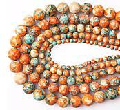 Minerály - Korálka - syntetický kameň oranžový mix 10 mm - 10896714_