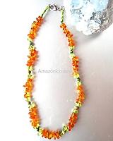 Detské doplnky - Jantarový náhrdelník pro děti (olivín a ryolit) - 10896126_