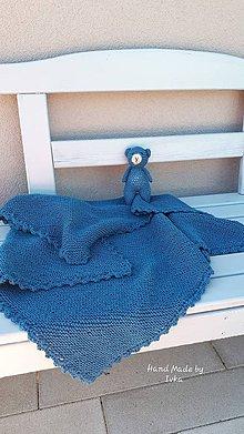 Textil - Detská deka + medvedík - Drops baby merino - petrolejová - 10896870_