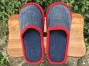 Obuv - Modré denim papuče s vreckom a červeným lemom - 10895661_