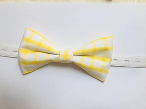 Doplnky - žltý karovaný motýlik - 10895534_