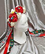 Ozdoby do vlasov - Kvetinová parta so stuhami s folklórnym motívom - 10894747_