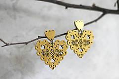 Náušnice - Čičmance - srdce zlaté - 10894927_