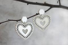 Náušnice - Čipkovance - srdce biele - 10894936_