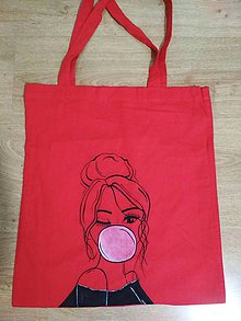 Nákupné tašky - Bavlnená ručne maľovaná taška - Girl - 10894994_