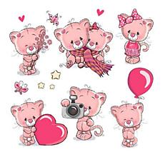 Galantéria - Nažehľovačky Ružové mačiatka set - 10896998_