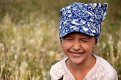 Detské čiapky - Letná pružná šatka so šiltom Vtáčiky / folk - 10894284_