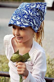 Detské čiapky - Letná pružná šatka so šiltom Vtáčiky / folk - 10894283_