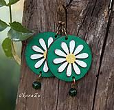Náušnice - Sedmokráska v zelenej - 10897252_