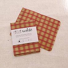 Úžitkový textil - FILKI voskáň - voskované vrecko (béžovo-červené mini) - 10894327_