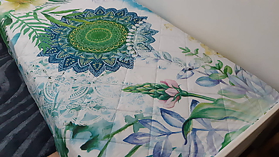 Úžitkový textil - Zelená mandalová deka s vankúšom - 10897132_
