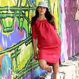 - Ľanové šaty Vesna červené - 10898667_