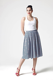 Sukne - Sukňa midi modro biela pásikavá - 10899629_